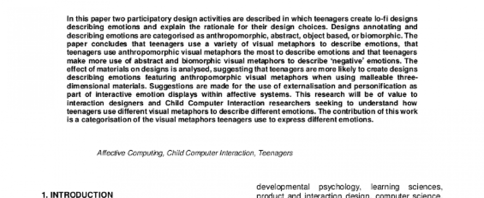 Designing Teenage Emotions with a Life of Their Own.
